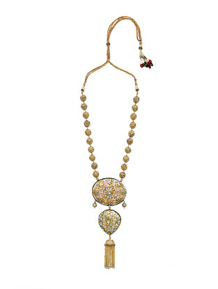 Pink Green Gold Tone Enameled Necklace With Pearls