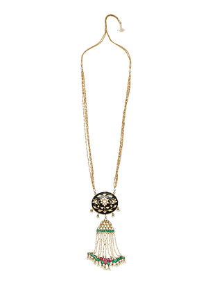 Black White Gold Tone Enameled Necklace With Pearls