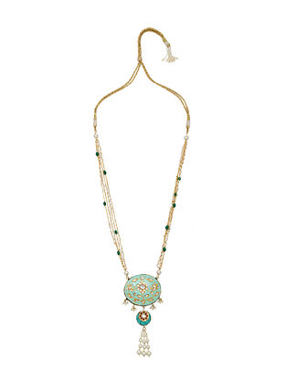 Blue White Gold Tone Enameled Necklace With Pearls