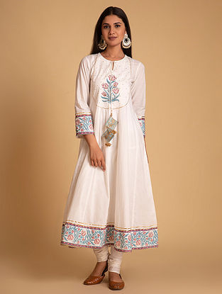 Off White and Blue Block Printed Cotton Kurta with Hand Embroidery