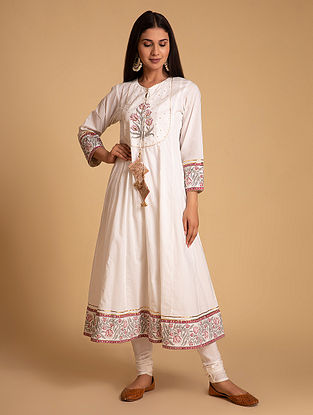 Off White and Pink Block Printed Cotton Kurta with Hand Embroidery