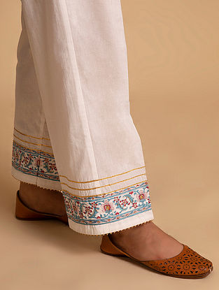 Off White and Blue Block Printed Cotton Palazzos with Hand Embroidery
