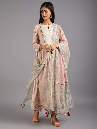 Pink and Grey Hand Block Printed Embroidered Chanderi Silk and Cotton Dupatta