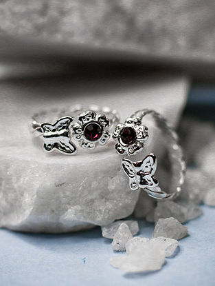 Red Tribal Silver Toe Ring (Set of two)