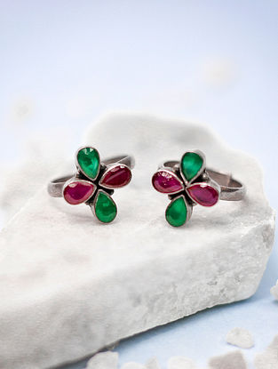 Pink Green Tribal Silver Toe Ring (Set of two)