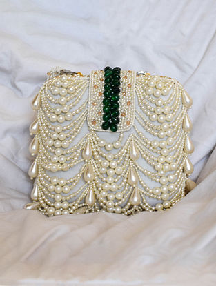 White Emerald Green Handcrafted Beaded Velvet Clutch
