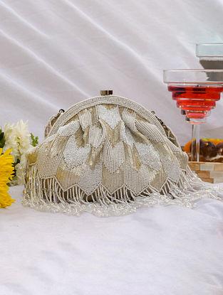 White Handcrafted Sequinned Velvet Clutch