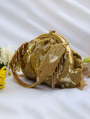 Gold Handcrafted Sequinned Velvet Clutch