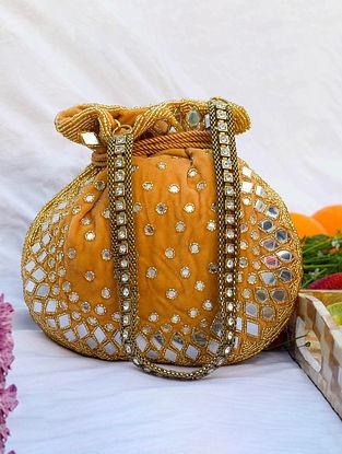 Orange Handcrafted Velvet Potli With Mirror Work