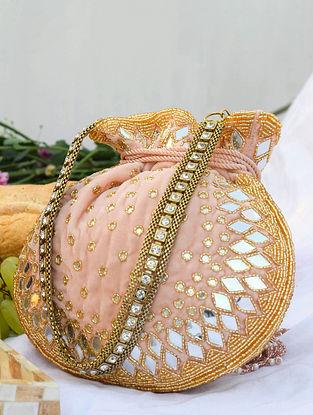 Pink Handcrafted Velvet Potli With Mirror Work