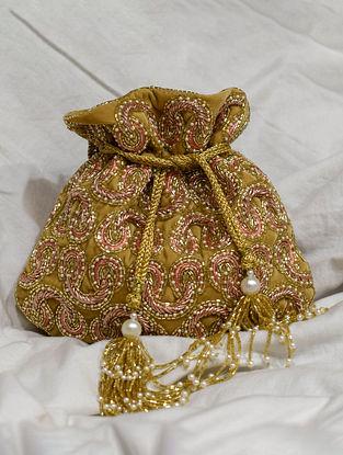 Gold Handcrafted Beaded Velvet Potli