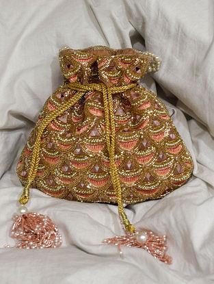 Pink Gold Handcrafted Velvet Potli With Mirror Work