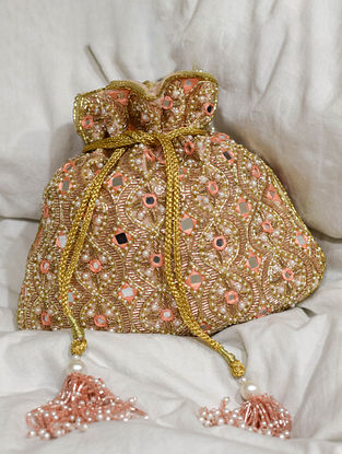 Pink Gold Handcrafted Beaded Velvet Potli With Mirror Work