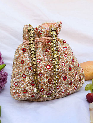 Red Pink Handcrafted Beaded Velvet Potli With Mirror Work