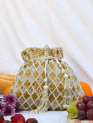 White Gold Handcrafted Sequinned Velvet Potli
