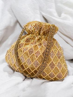 Gold Pink Handcrafted Beaded Velvet Potli