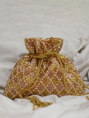 Pink Gold Handcrafted Beaded Velvet Potli