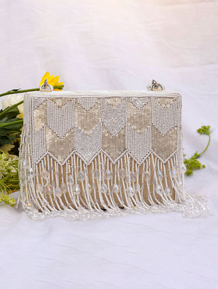 White Handcrafted Sequinned Suede Clutch