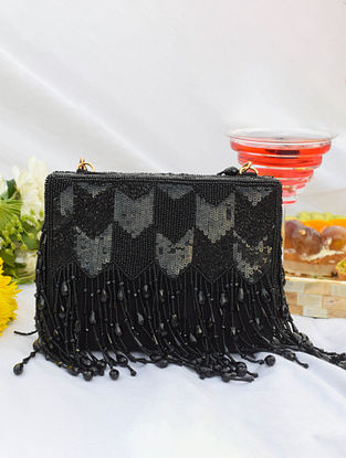 Black Handcrafted Sequinned Suede Clutch