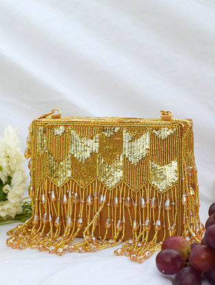 Gold Handcrafted Sequinned Suede Clutch