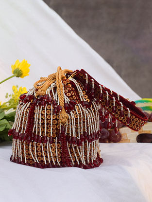 Red White Handcrafted Beaded Velvet Potli