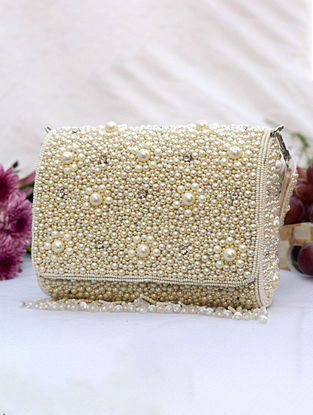 White Handcrafted Beaded Cotton Clutch