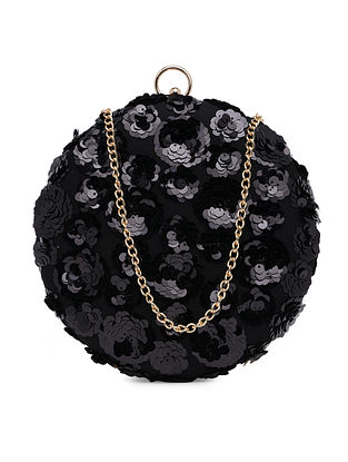 Black Sequinned Suede Clutch