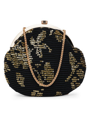 Black Gold Handcrafted Polyester Clutch