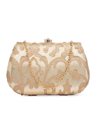 Gold Handcrafted Leather Clutch