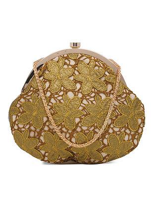Gold Beige Handcrafted Crochet Suede Clutch