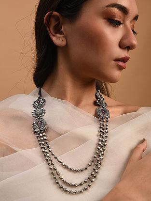 Purple Tribal Silver Necklace
