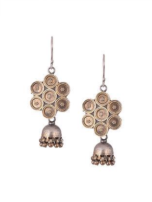 Dual Tone Tribal Silver Jhumki Earrings