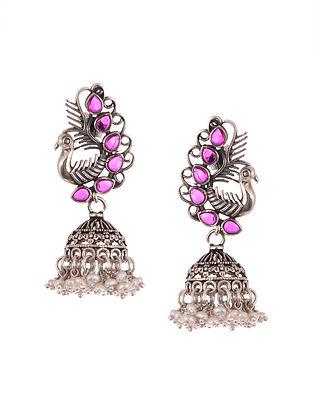 Purple Tribal Silver Jhumki Earrings