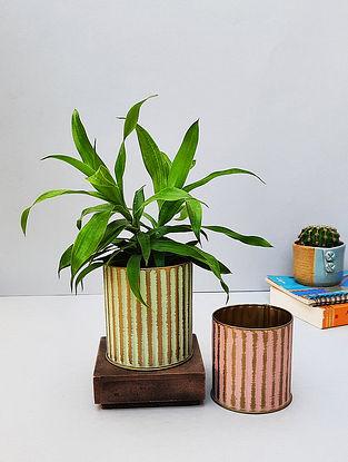 Mint And Pink Metal Ribbed Desk Planter Set (Set Of 2)