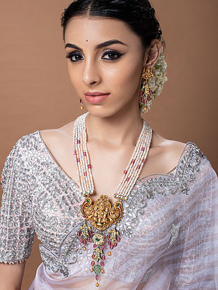 White Red Gold Tone Temple Work Necklace With Earrings