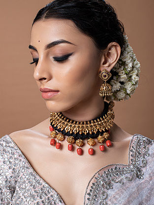 Black Orange Gold Tone Temple Work Choker Necklace With Earrings