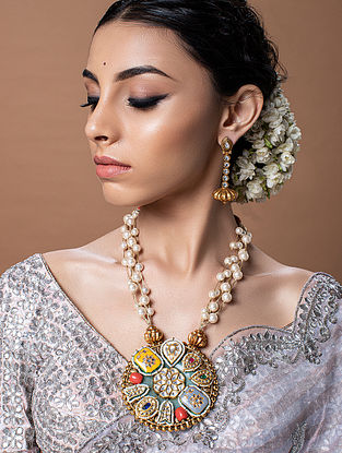 Multicolored Gold Tone Kundan Beaded Necklace With Earrings