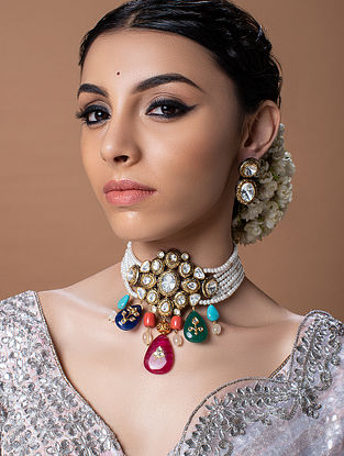 Multicolored Gold Tone Kundan Beaded Choker Necklace With Earrings