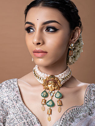 Green White Gold Tone Temple Work Choker Necklace With Earrings
