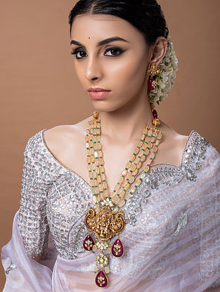 Peach Red Gold Tone Temple Work Necklace With Earrings