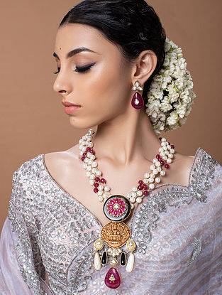 Red White Gold Tone Temple Work Necklace With Earrings
