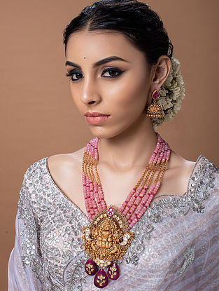 Pink Red Gold Tone Temple Work Necklace With Earrings