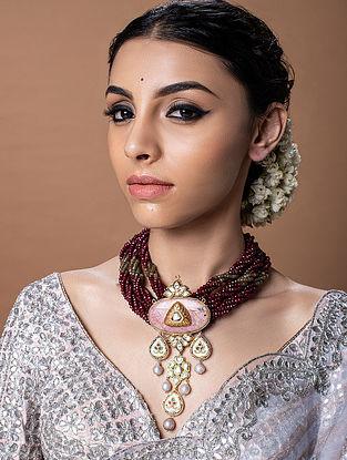 Maroon Pink Gold Tone Kundan Beaded Necklace