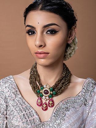 Green Brown Gold Tone Kundan Beaded Necklace
