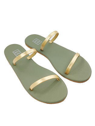 Gold Handcrafted Faux Leather Flats