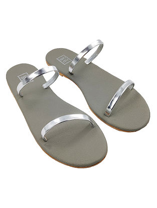 Silver Handcrafted Faux Leather Flats