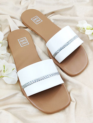 White Handcrafted Faux Leather Flats