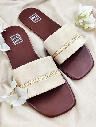 Beige Handcrafted Faux Leather Flats