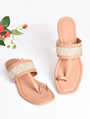Nude Handcrafted Faux Leather Kolhapuri Flats