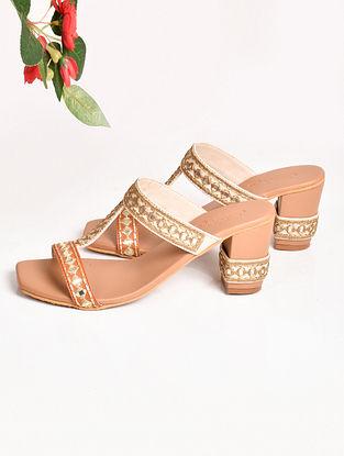 Cream Handcrafted Faux Leather Kolhapuri Block Heels